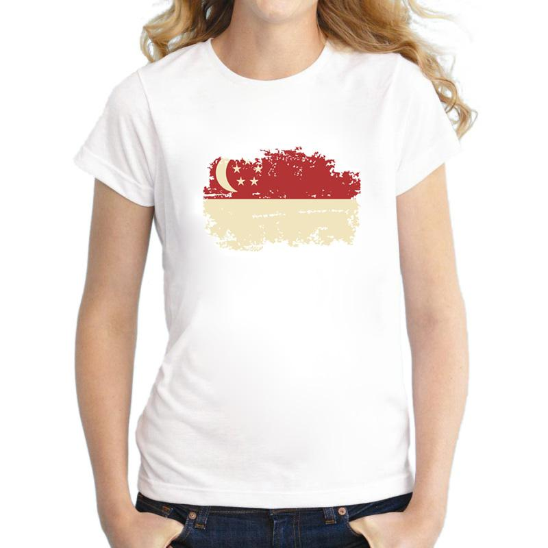 ee03b7bc2 Singapore Flag Summer Rio Games Women T-Shirt 100% Cotton Short Sleeve Casual  Hip