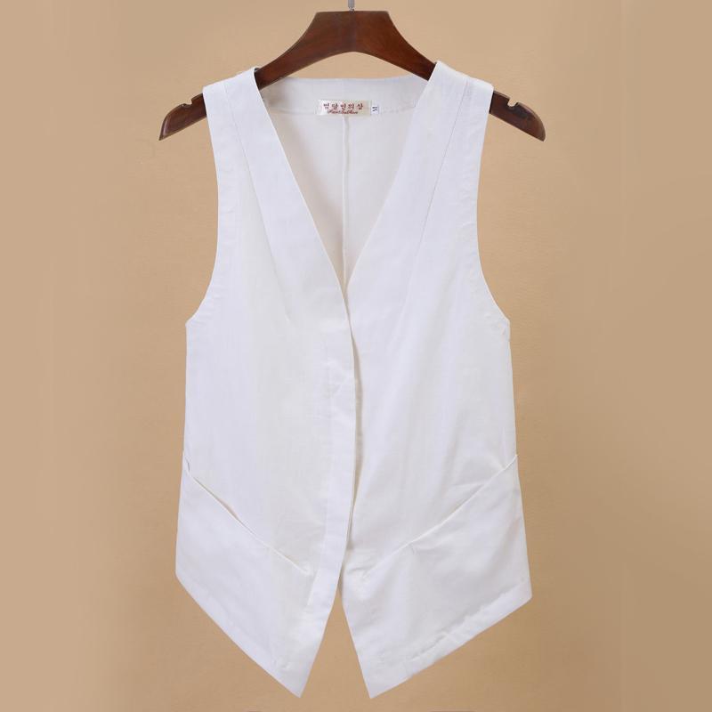 Review Cotton Linen Plain Plus Sized Jacket Waistcoats F T On China