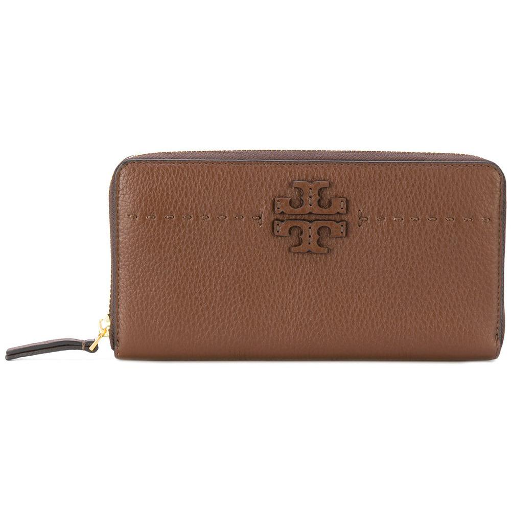 TORY BURCH McGRAW ZIP CONTINENTAL WALLET (SADDLE)