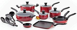 T-fal Initiatives Non-stick Red 18-Piece Cookware Set