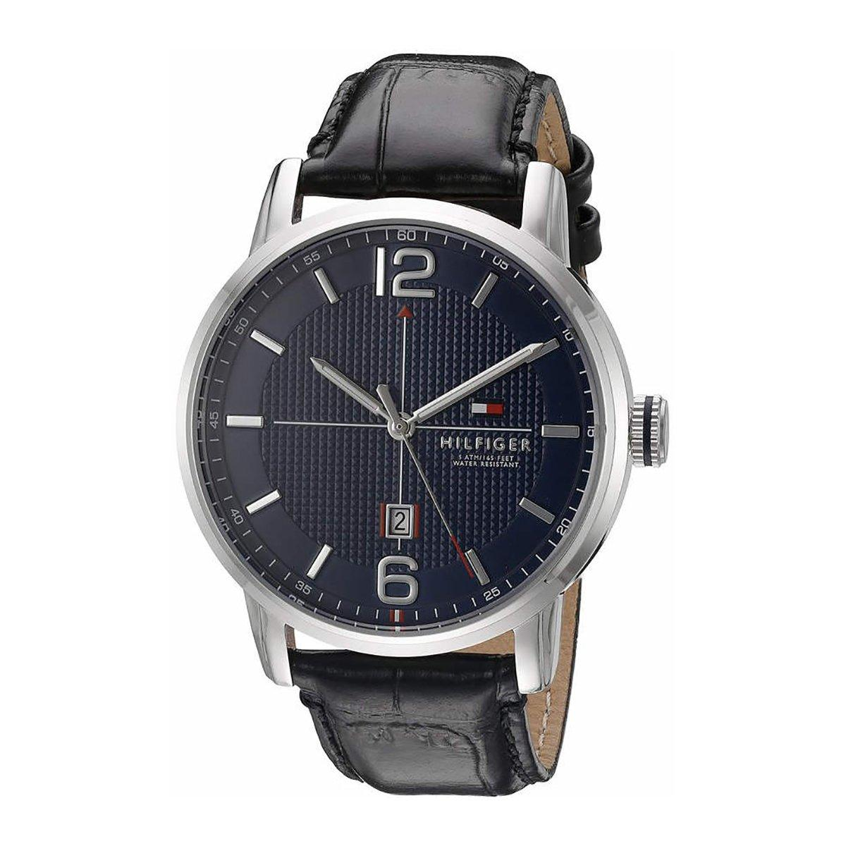 For Sale Tommy Hilfiger Watch George Black Stainless Steel Case Leather Strap Mens 1791216