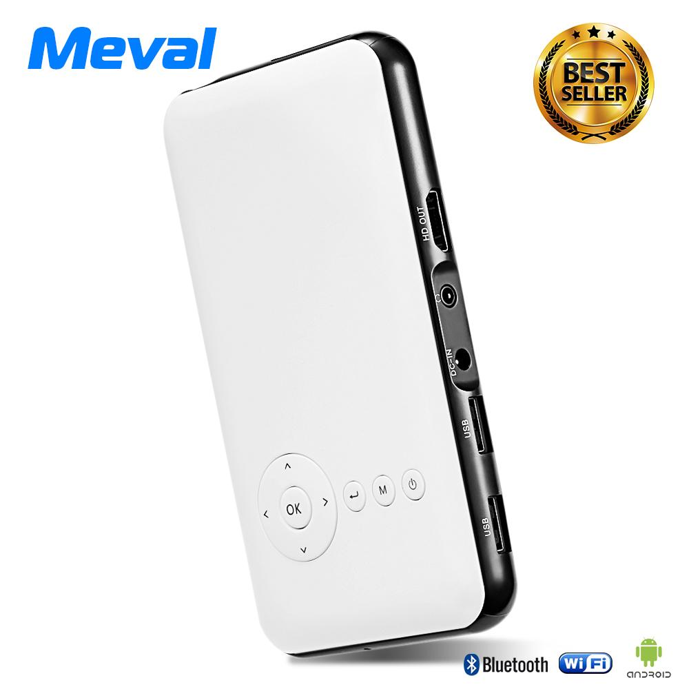 Who Sells Meval S6 Portable Mini Projector Built In Android System Wi Fi Bluetooth Function Hd 1080P Airplay Miracast For Iphone Smartphone 1G 8G White The Cheapest