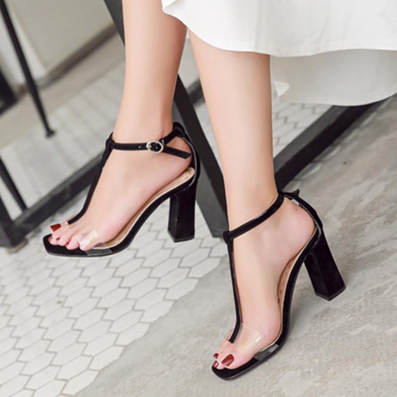 3cd37d4bb1e Block Heel High Heel Shoes women Summer New Style 19 Korean Style round Head  Online Celebrity