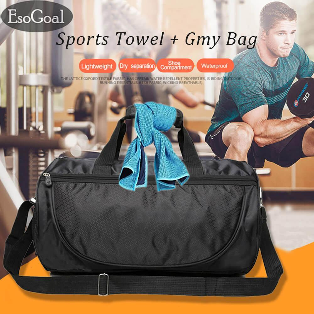Review Esogoal Gym Bag And Cooling Towel Duffle Bag Including Shoes Compartment Cooling Chilly Towel For Sports Fitness Gym Yoga Pilates Travel Camping More Esogoal