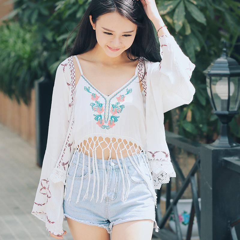 Buy Cultural Embroidered Lace Kimono Rashguard Cheap On China