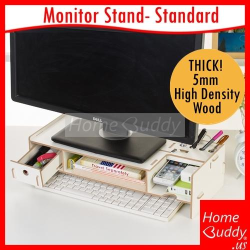 Monitor/ Laptop Stand: version STANDARD_ THICK 5mm High Density Wood_ READY Stocks SG. Reach you 2 to 4 work days_ HomeBuddy_ Acev Pacific