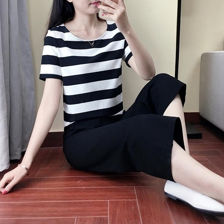 Kulot set dua potong baju wanita celana semata kaki lengan pendek Set Highwaist Versi Santai Korea