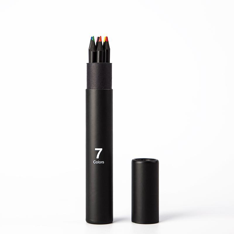 CAGIE Kemasan Botol pensil berwarna-warni 7 warna menggambar Doodle Mewarnai pulpen Gambar berwarna pulpen Pensil Warna Wood Set pensil