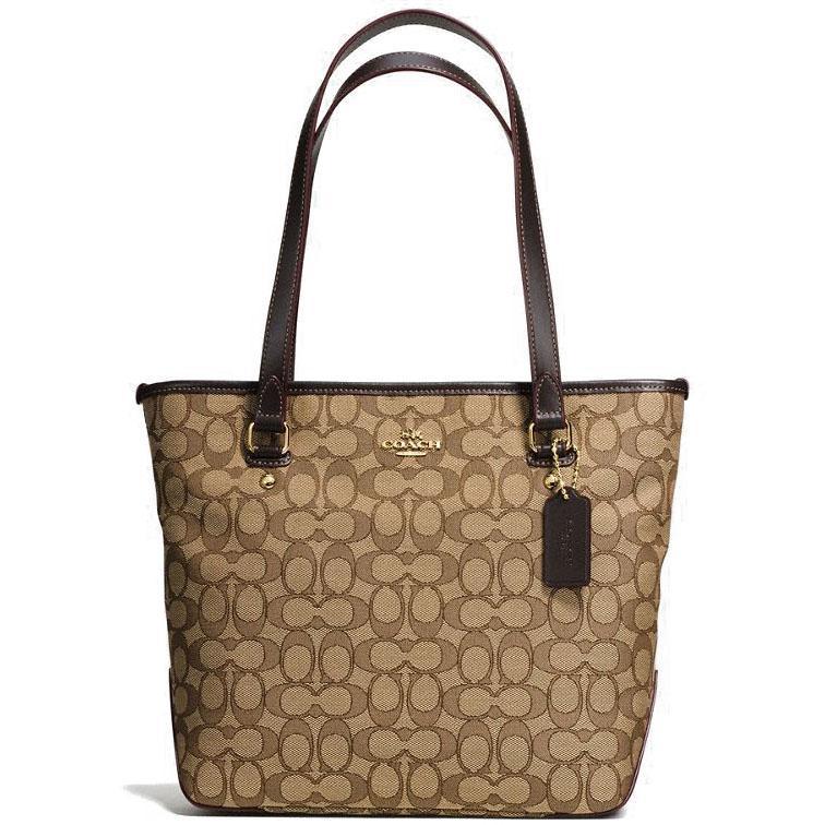 bcca5393f0 Coach Zip Top Tote In Outline Signature Handbag Gold   Khaki   Brown    F58282