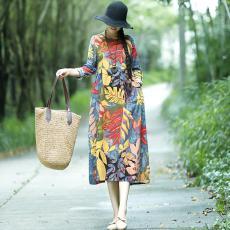 Kain linen gaun lengan panjang awal musim gugur MIMZF Retro longgar ukuran besar Terlihat Langsing model