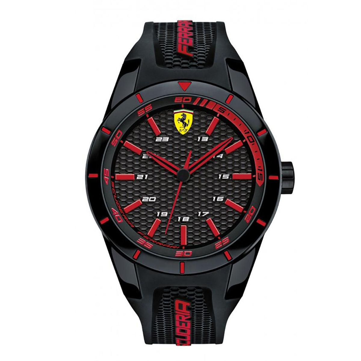 Buy Ferrari Watch Redrev Black Plastic Case Rubber Strap Mens 0830245