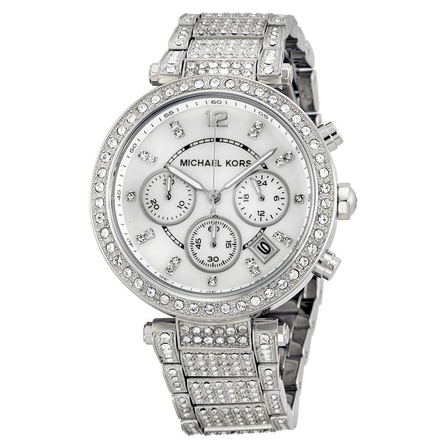 Michael Kors Parker Mother Of Pearl Dial Crystals Steel 39mm Ladies Watch Mk5572 By Watch Centre.