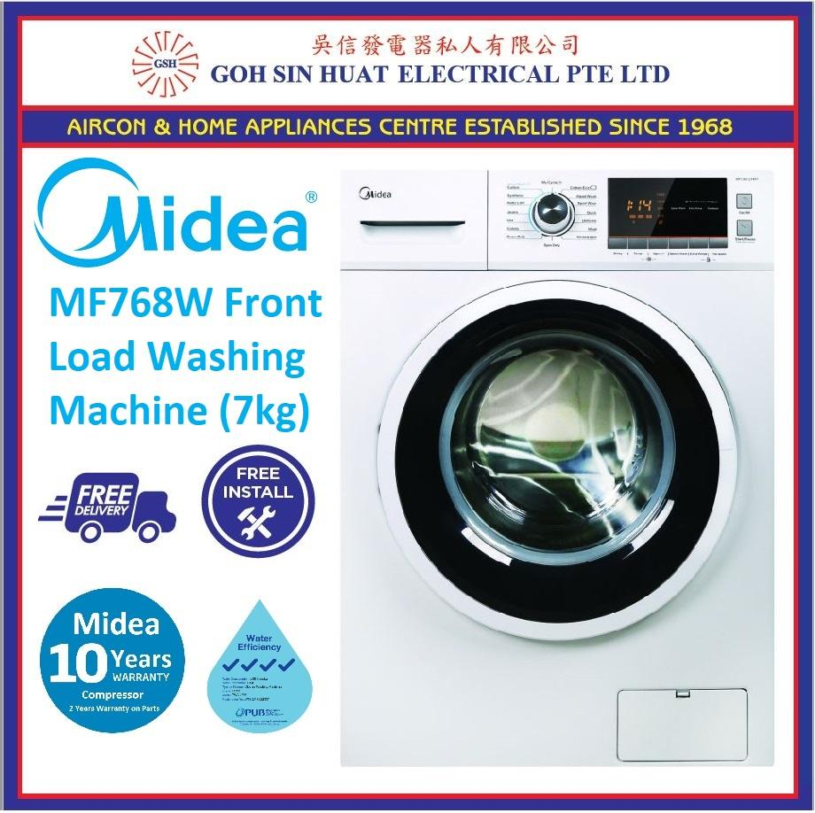 Sale Midea Mf768W Front Load Washing Machine 7Kg Midea Branded