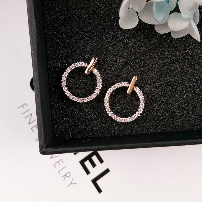... Perak murni Jarum Anting tindik wanita Korea Selatan Elegan minimalis bertatah berlian lingkaran Emas Mawar anting ...
