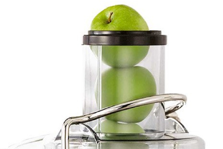 The Froojie Juicer has an extra wide feeding chute for whole fruits
