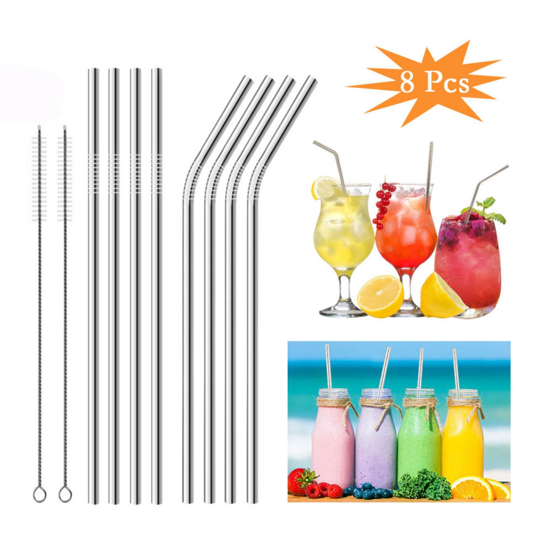 8 Pcs Straight Bent Stainless Steel Reusable Long Drinking Straw