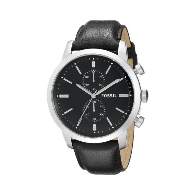 Discount Fossil Townsman Chronograph Black Leather Watch Fs4866 Final Clearance
