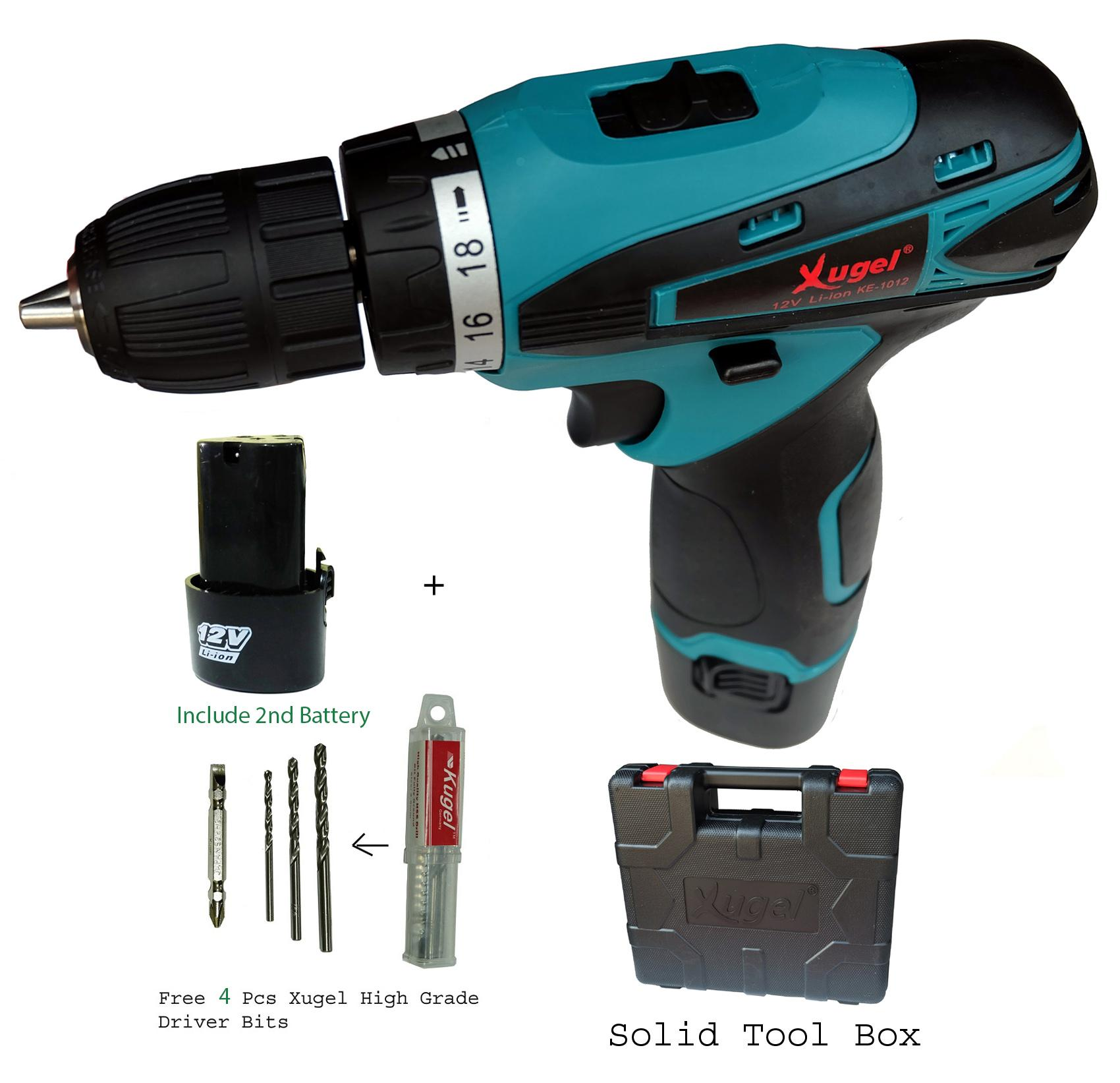 Xugel KE1012S 12V Lithium Battery Cordless Drill with 2 Battery, 4pcs Bits and carrying case