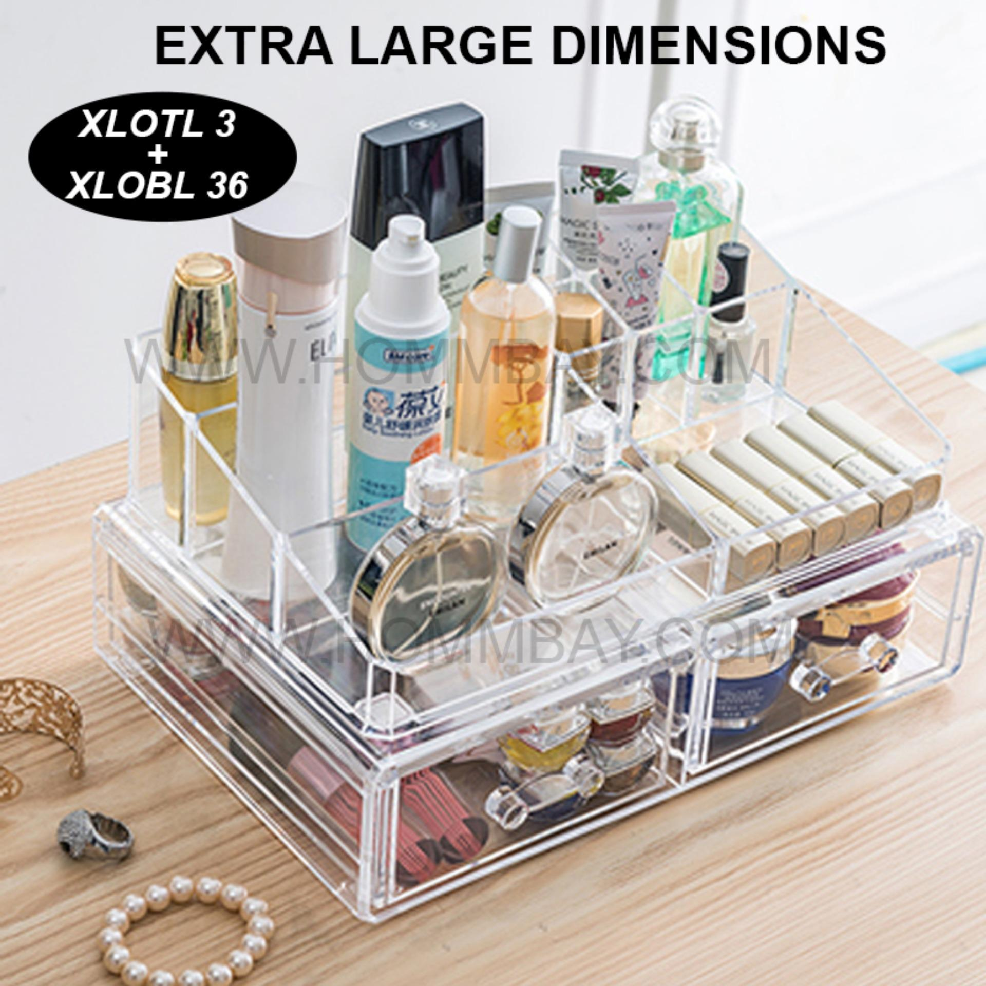 Clear Acrylic Transparent Make Up Makeup Cosmetic Jewellery Jewelry Organiser Organizer Drawer Storage Box Holder I Extra Large I Stackable I XLOTL 3 I XLOBL 36