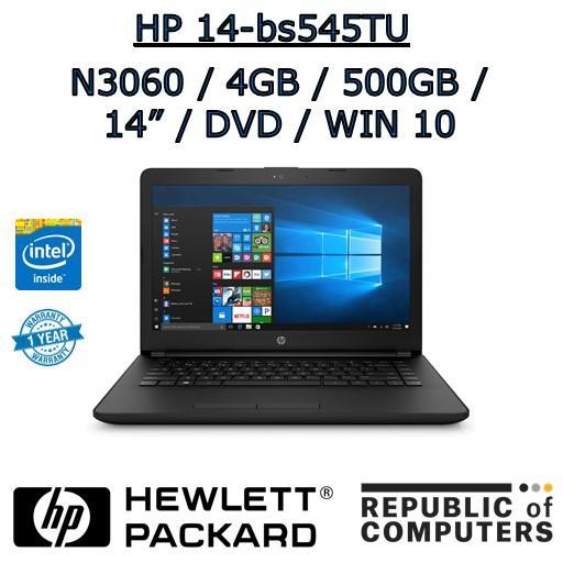 HP 14-bs545TU N3060 / 4GB / 500GB / 14 / DVD-RW / WIN 10