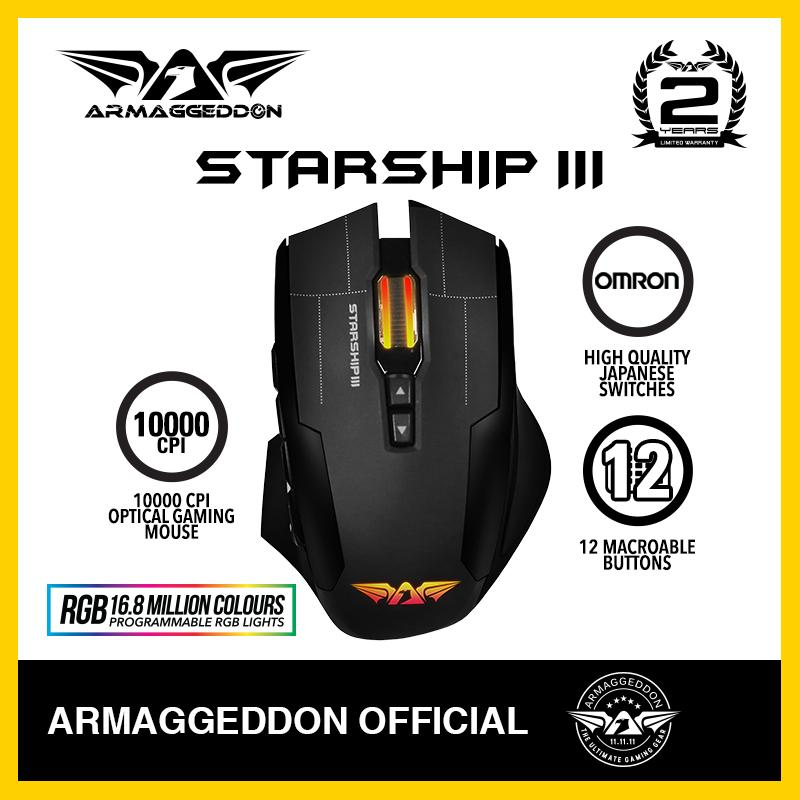Armaggeddon Nro-5 starship III 9-button RGB laser gaming mouse