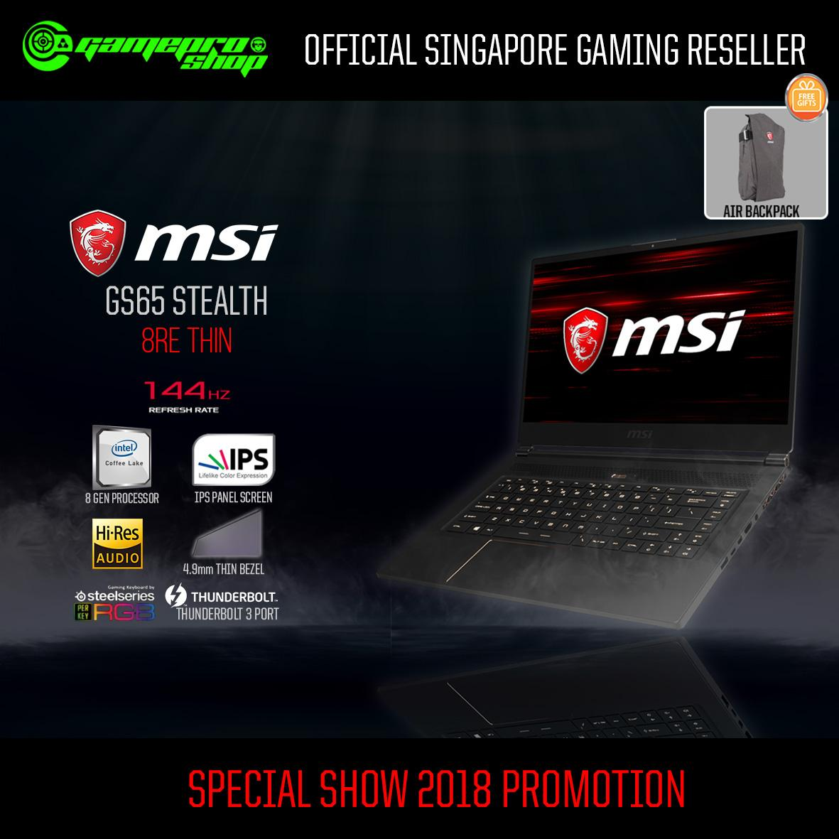 8th Gen MSI GS65 Stealth 8RE-Thin (8th-Gen / GTX1060 / 256GB SSD) 15.6 with 144Hz Gaming Laptop *PC SHOW*