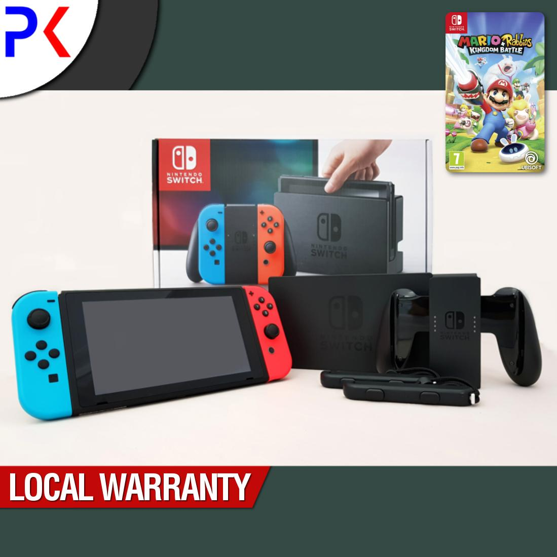 Promo Nintendo Switch Console With Neon Blue Red Joy Con Asia Mario Rabbids Kingdom Battle