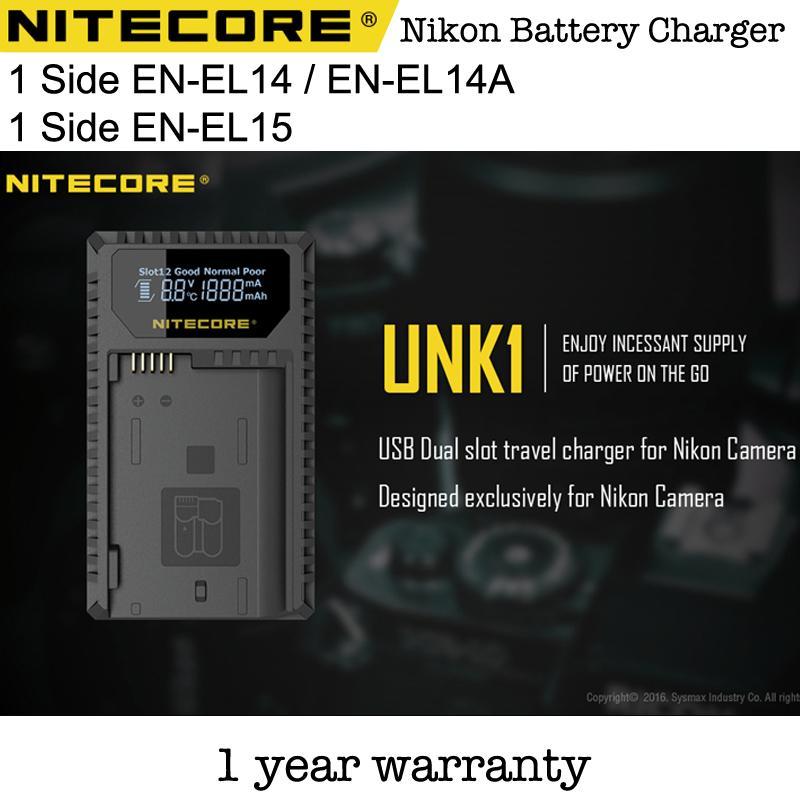 NITECORE UNK1 EN-EL14 ENEL14 or EN-EL15 ENEL15Lithium-Ion Battery Dual-