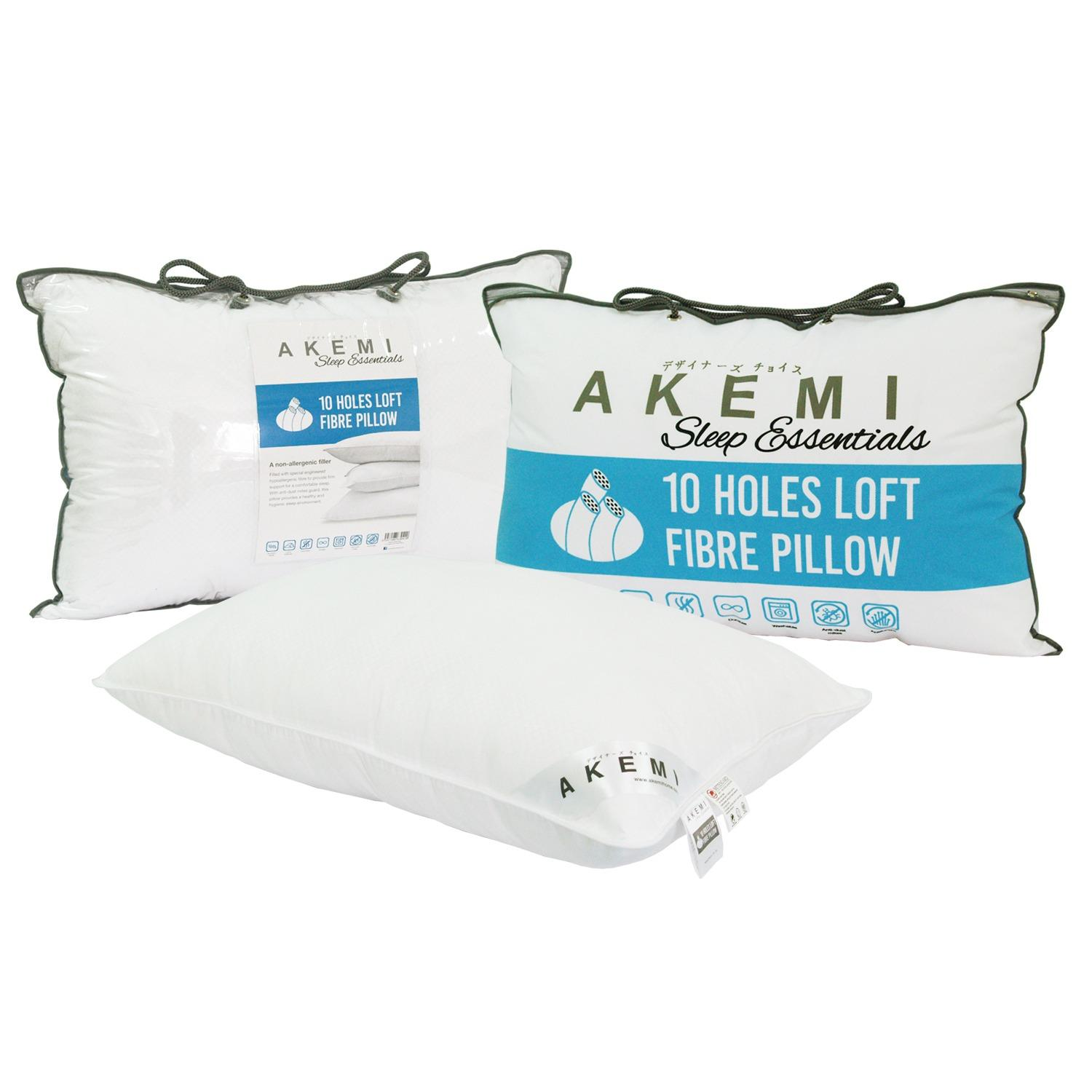 Cheap Akemi Sleep Essentials 10 Holes Loft Fibre Pillow Bundle Of 2