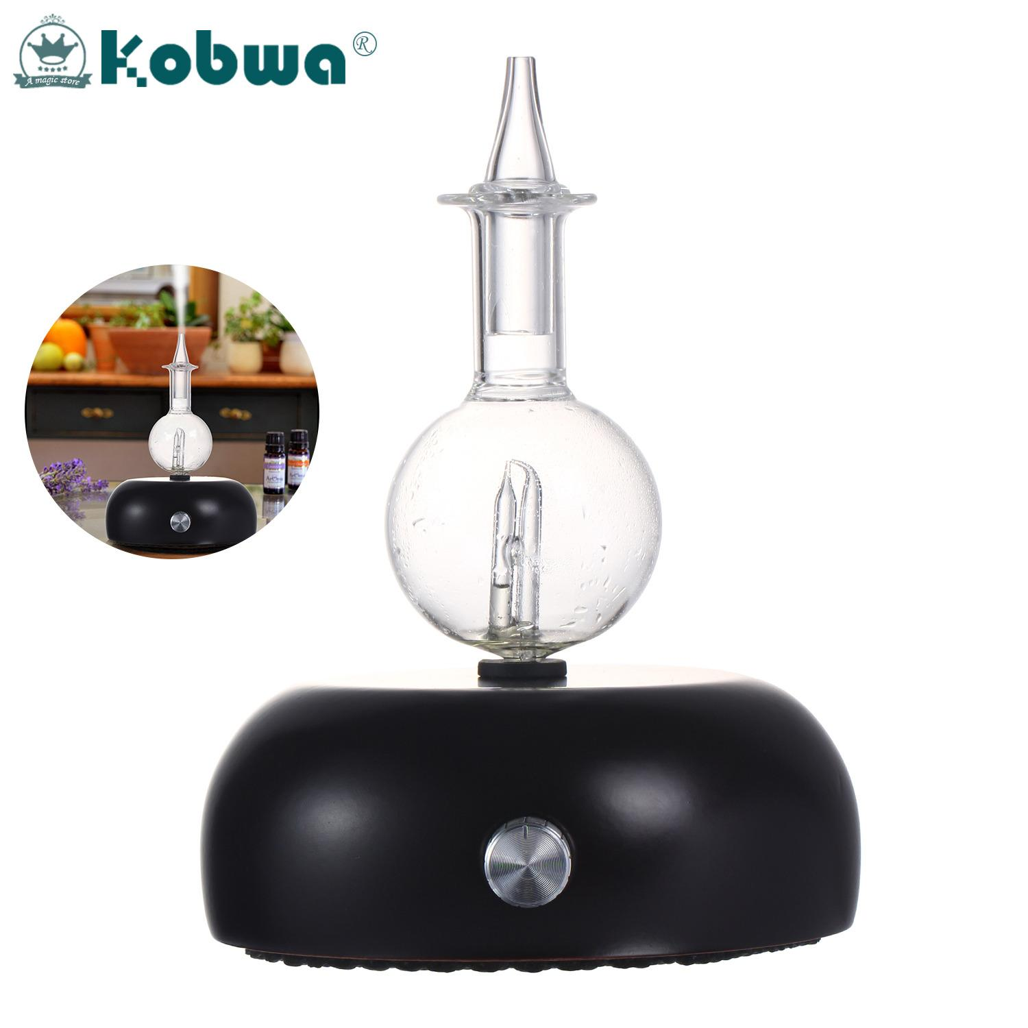Kobwa Nebulizing Pure Essential Oil Aromatherapy Diffuser, Ultrasonic Aroma Scent Nebulizer With Auto Shut Off/ 7-Colors LED Light, Perfect For Spa/ Home/ Office (Glass Reservoir+ Wood Base),EU Plug - intl