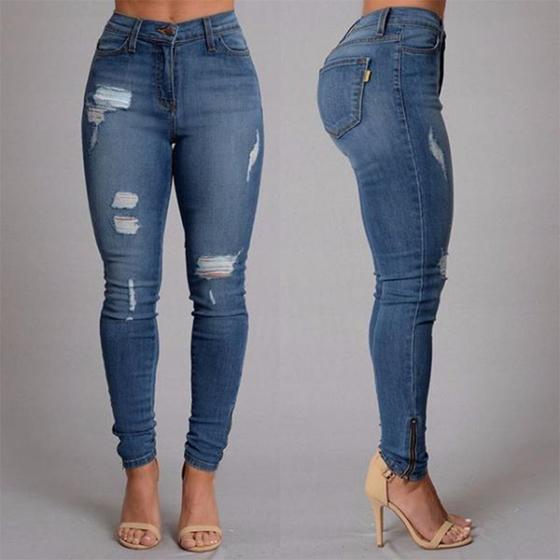 Buy 2017 S*xy Pencil Pants Woman Female Hole Ripped Denim Jeans Cheap On China