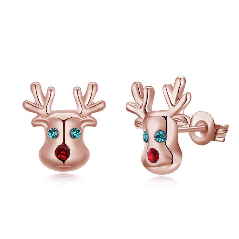 POPO Christmas Style Antlers Women Earrings Stud Elegant Earring Exquisite Jewelry