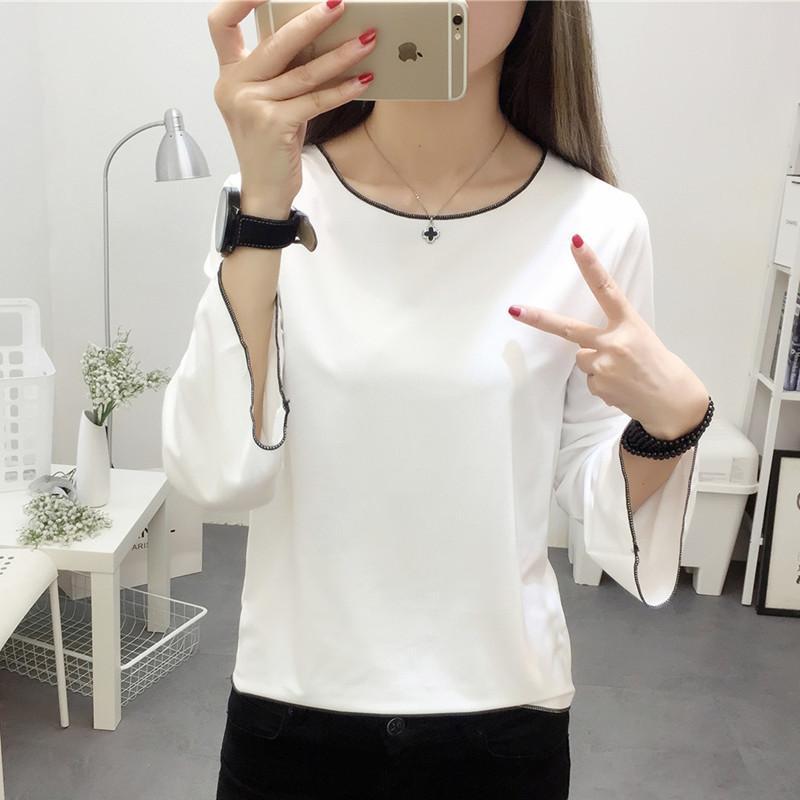 Korea Fashion Style Model Laris Lengan Terompet Lindung Nilai Musim Gugur Perempuan Atasan Lengan Panjang Bottoming Kemeja (Putih) baju wanita baju atasan kemeja wanita