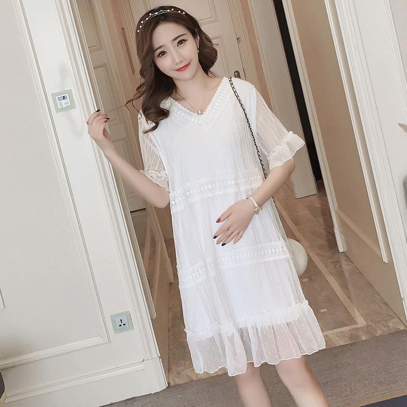 7fec9371c Summer Maternity Dresses Pregnant Woman Short Sleeve Large Size Loose  Casual Lace Chiffon Dress