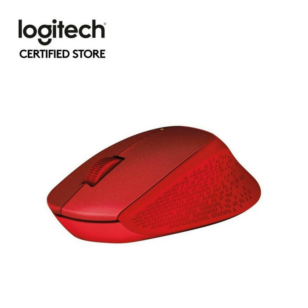 Logitech M331 Red Wireless Silent Plus Mouse With Rubber Grip No Click Sound On Singapore