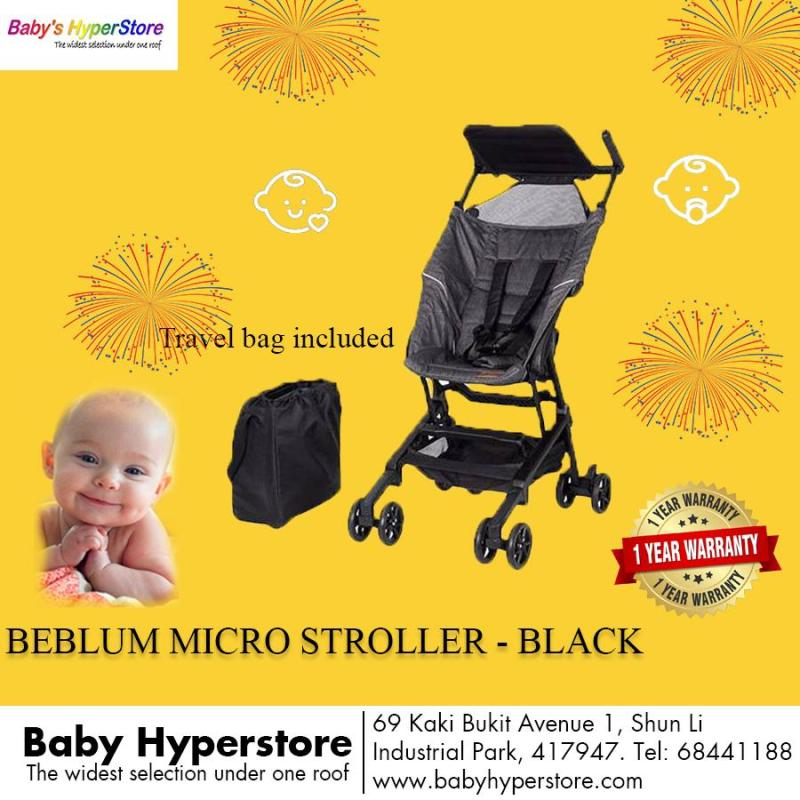 Beblum Micro Stroller - Black - Super compact & lightweight (cabin size) - Local seller warranty 6 Months Singapore
