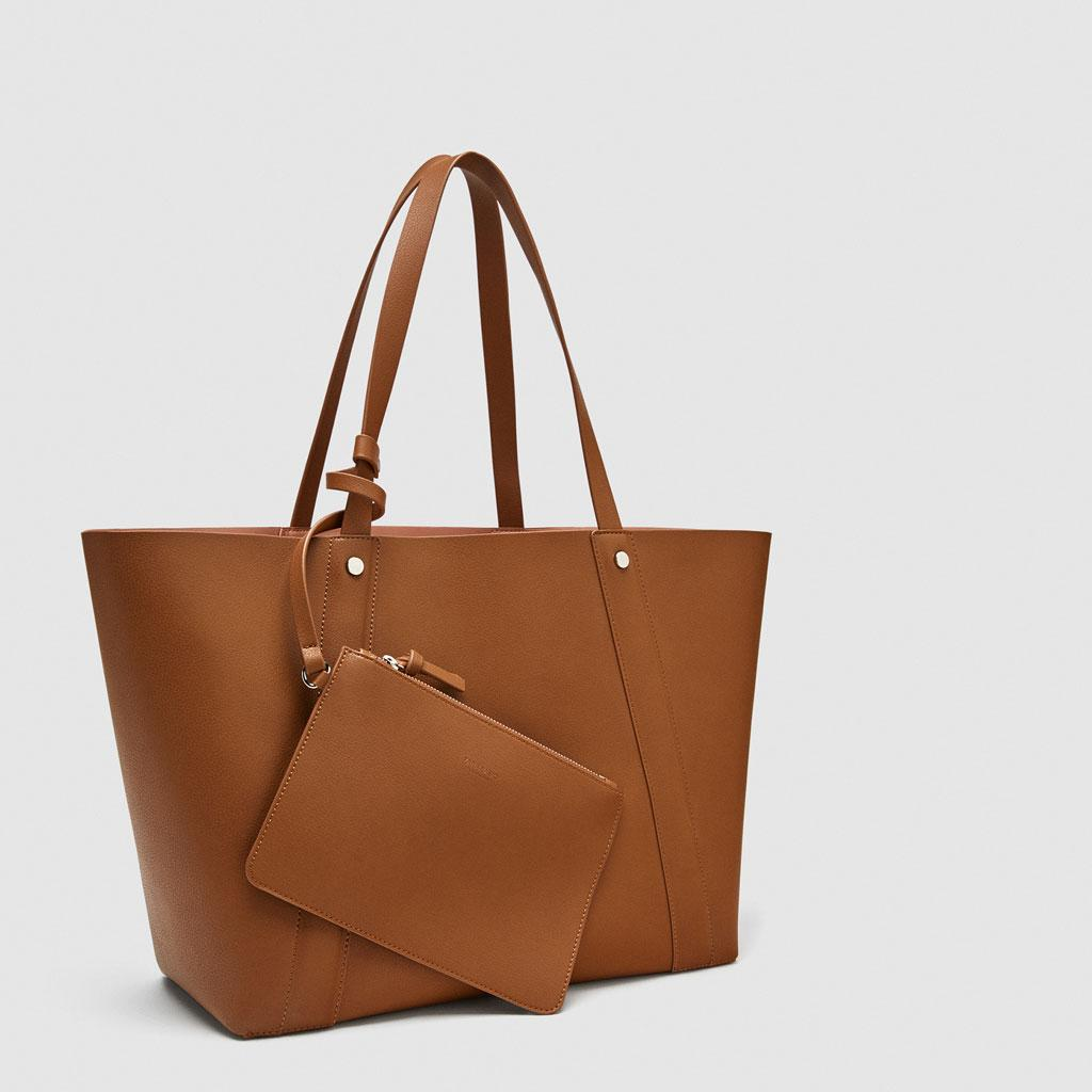 8175cf06134 Zara reversible faux leather large shopping tote bag with pouch ( Brown )