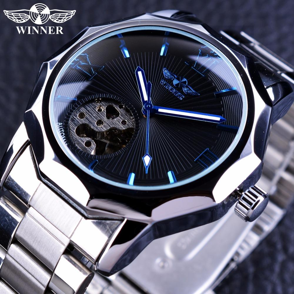 Winner Blue Ocean Geometry Design Stainless Steel Luxury Small Dial Skeleton Mens Watches Automatic Wrist Watch Malaysia
