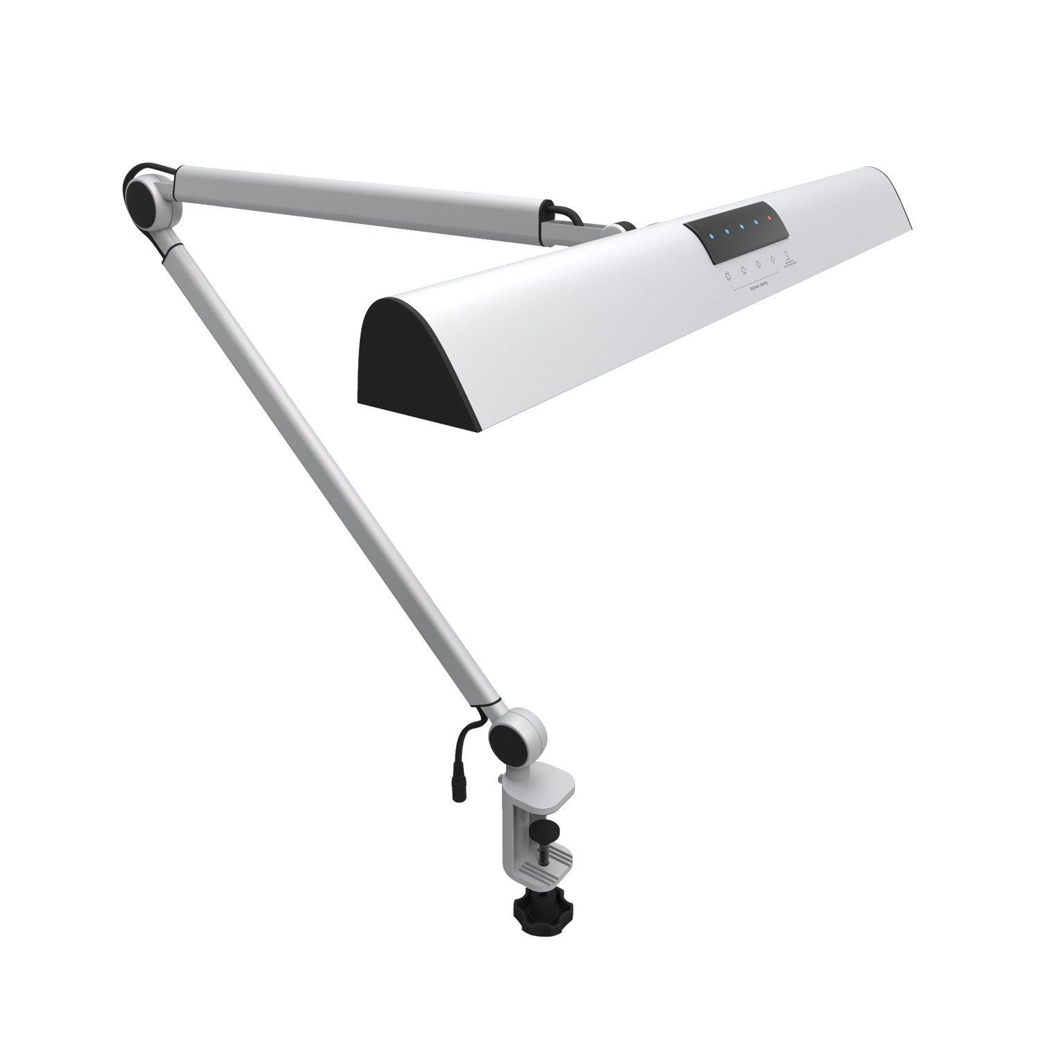 A509 LED Swing Arm Architect Desk Lamp Clamp, Touch Table Lamp for Reading Working Silver 2 Lighting Modes, 4-level Dimmable
