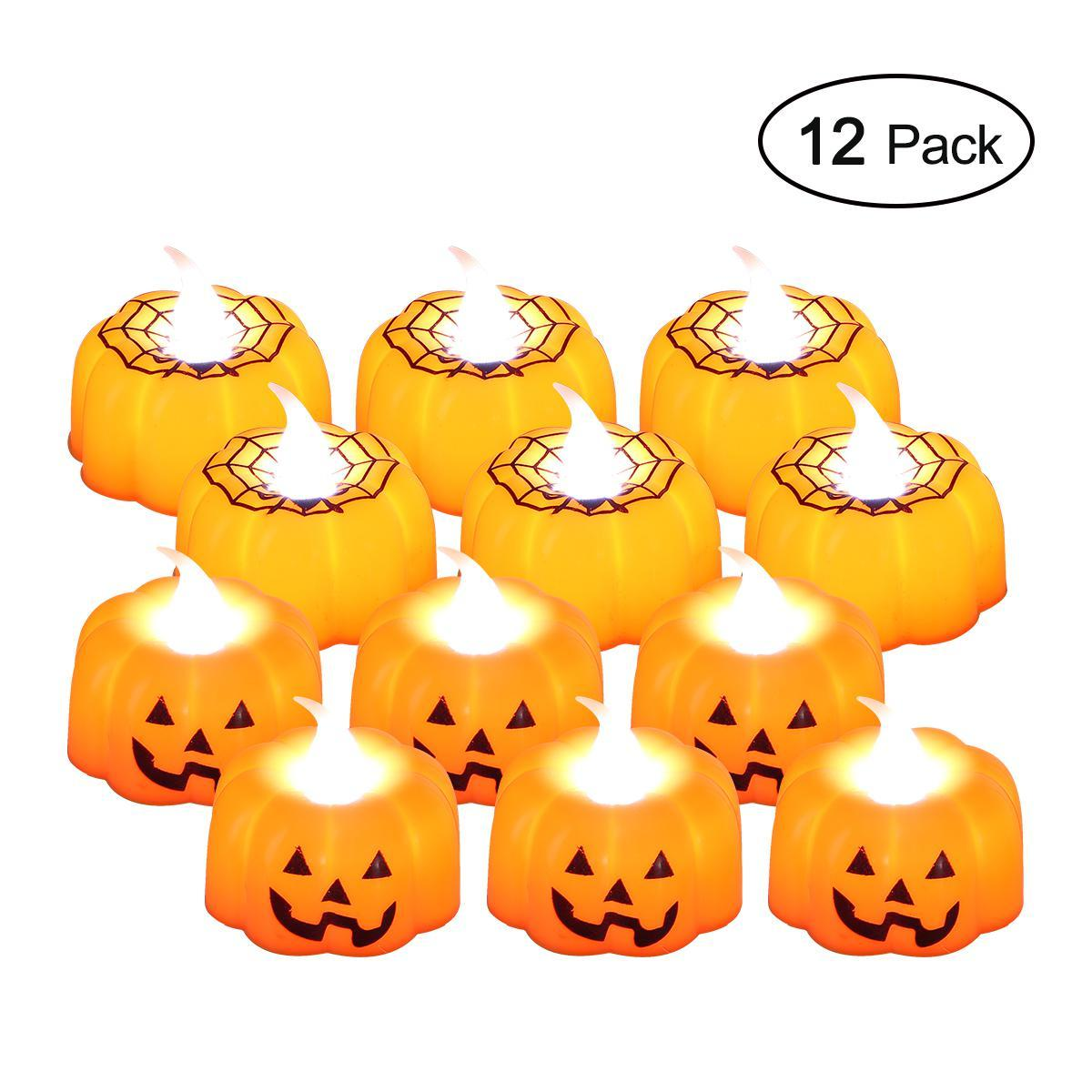 Niceeshop Halloween Candles,12 Pack Led Pumpkin Lights Flickering Flameless Tealight Candles Or Christmas Festival Wedding Parties By Nicee Shop