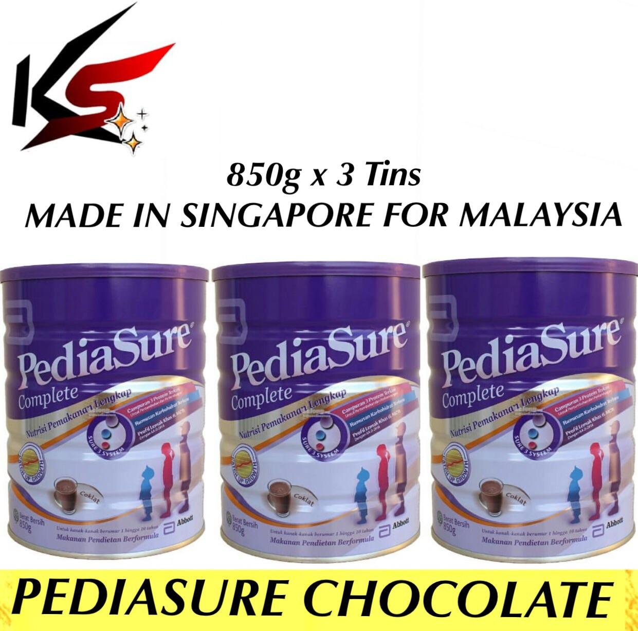 Pediasure Chocolate Milk Powder 850g x 3 Tins Made In Singapore For Malaysia