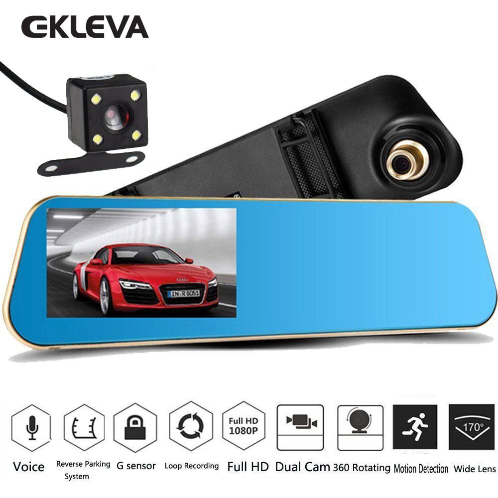 Car Video Recorder Full HD 1080P Car Video Camera with Dual Lens for Vehicles Front & Rearview Mirror Car DVR Dash Cam with Reverse Parking System Rear Cam with LED Night Vision & Waterproof