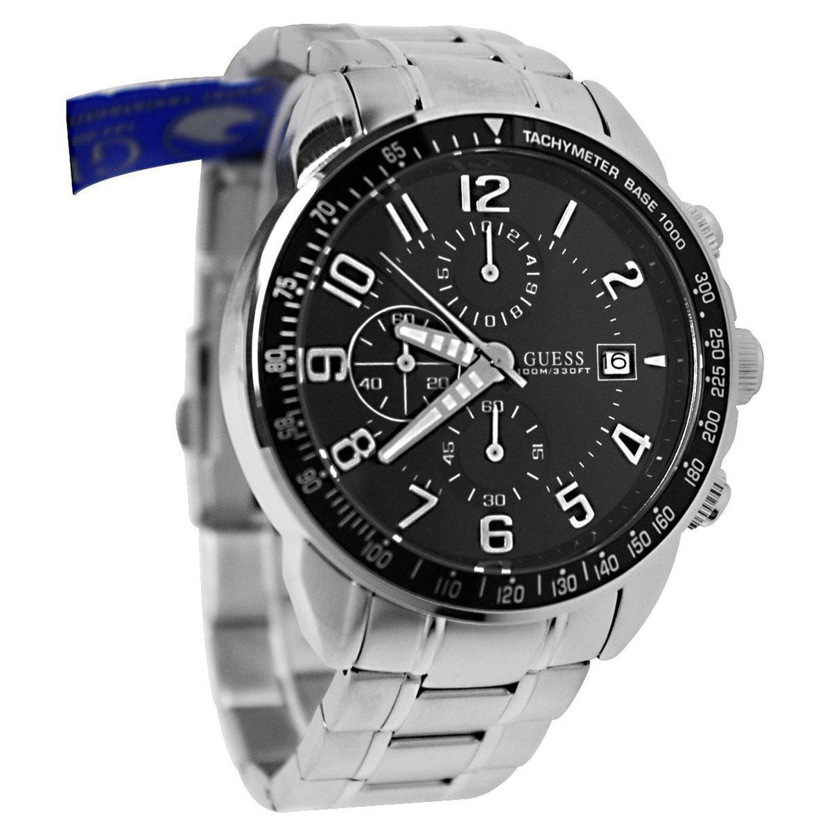 Guess W0658g1 Vertigo Jam Tangan Pria Navy Blue Leather Case W0479g3 Multifunction Strap Stainless Steel Silver Quartz Bracelet Mens Nwt Warranty