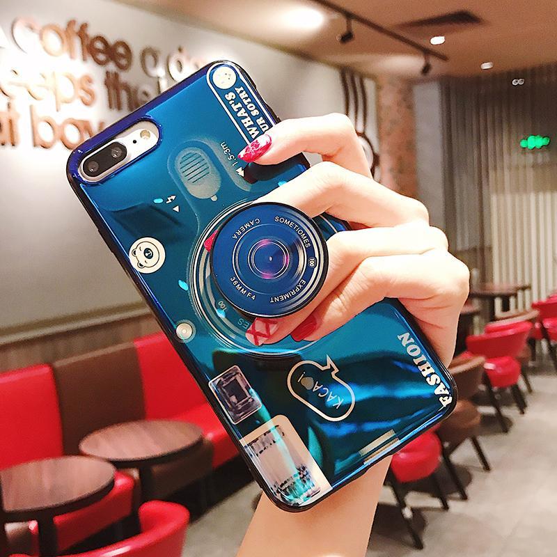 Samsung Casing HP S8 Cahaya Biru Kamera Casing Lunak S8Plus/S9 Kantong Udara Holder