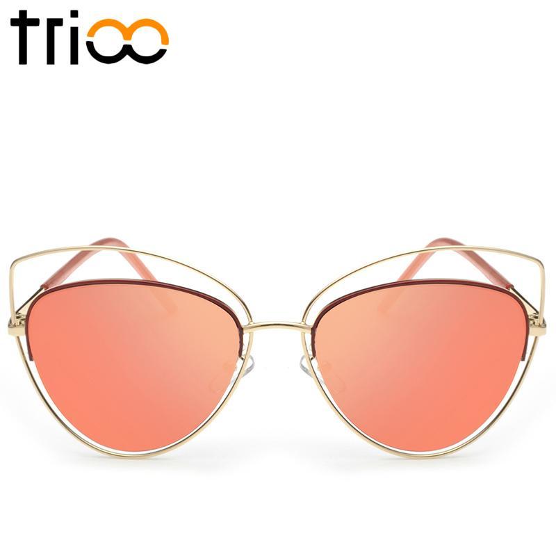 TRIO Emas Logam Wanita Sunglasses Merek Mewah Cat Eye Kacamata Matahari Perempuan Cermin Warna Shades Baru Berongga Out Designer Lunette Metallic Cherry