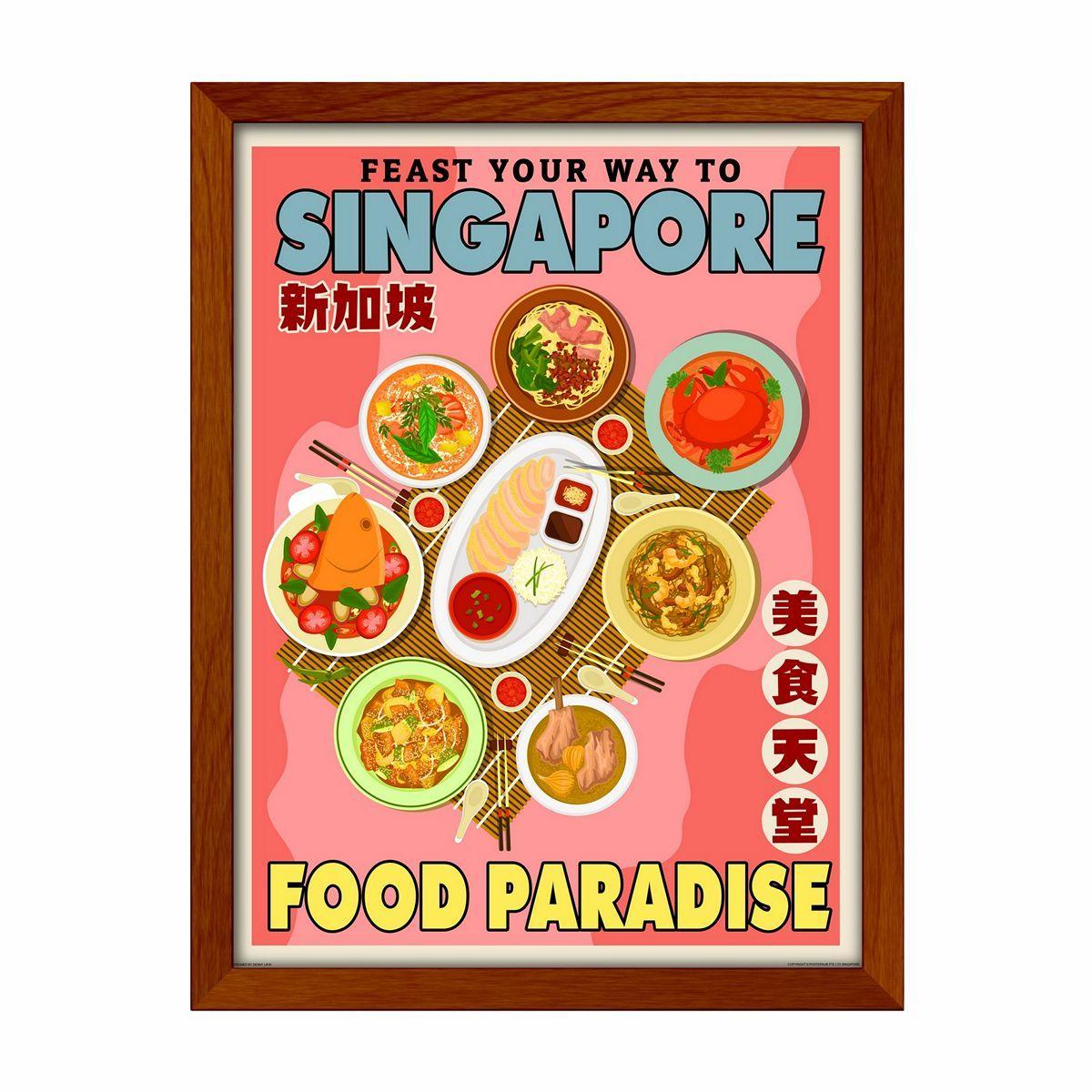 Singapore Vintage Travel - Food Paradise Wall Decor