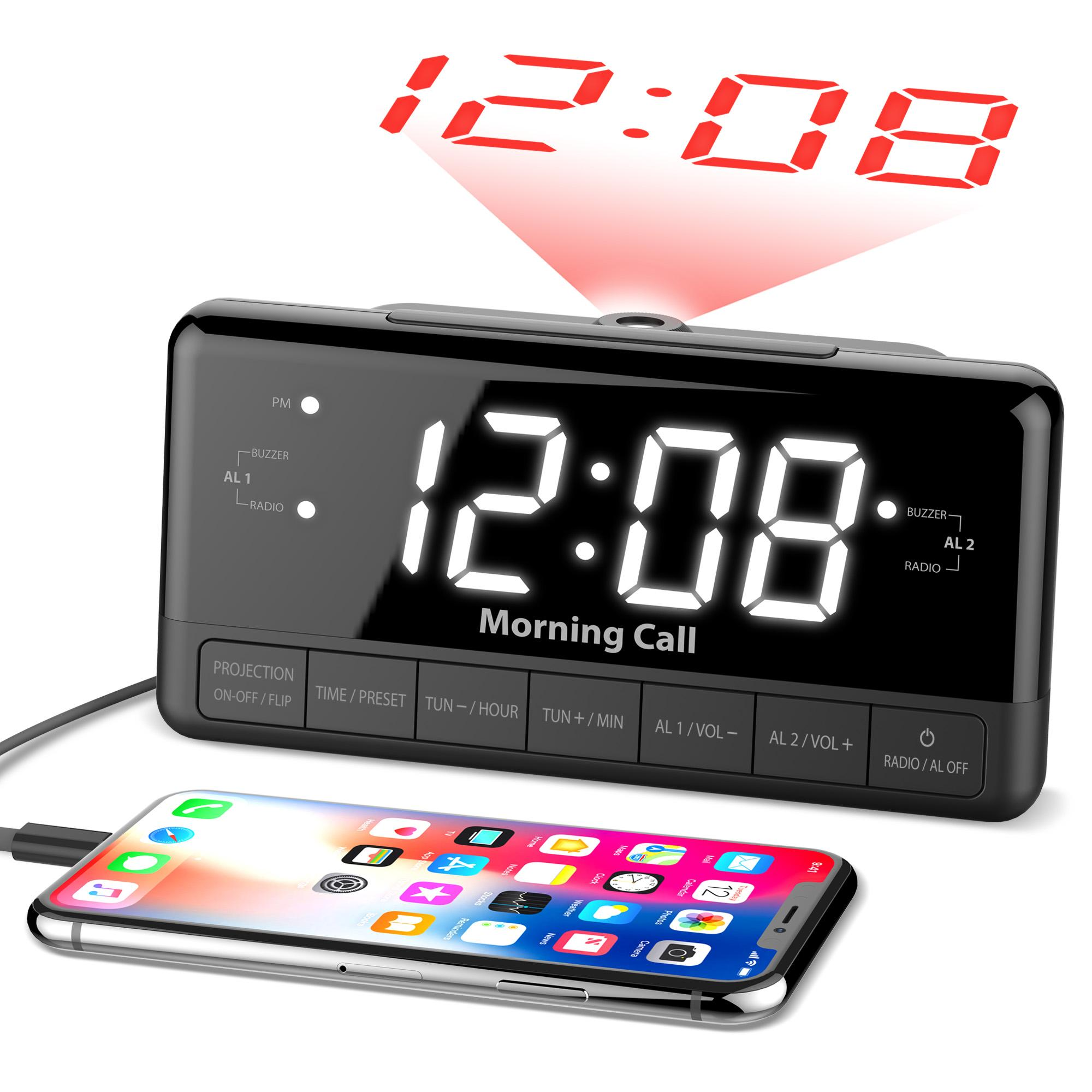 iLuv Morning Call 3 FM Radio Dual Alarm Clock with 1.2 Jumbo White LED Display Projection MORCAL3BSBK
