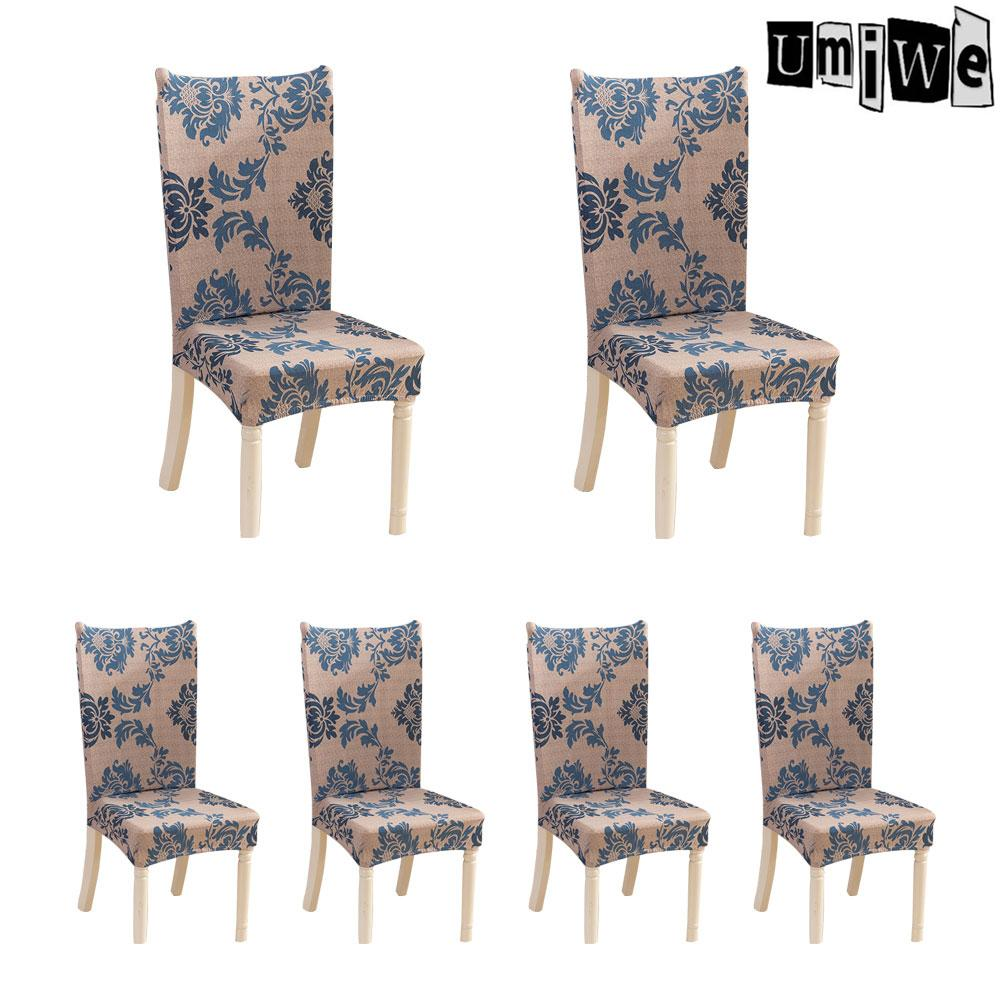 Umiwe 6 X Soulfeel Soft Spandex Fit Stretch Short Dining Room Chair Covers With Printed Pattern