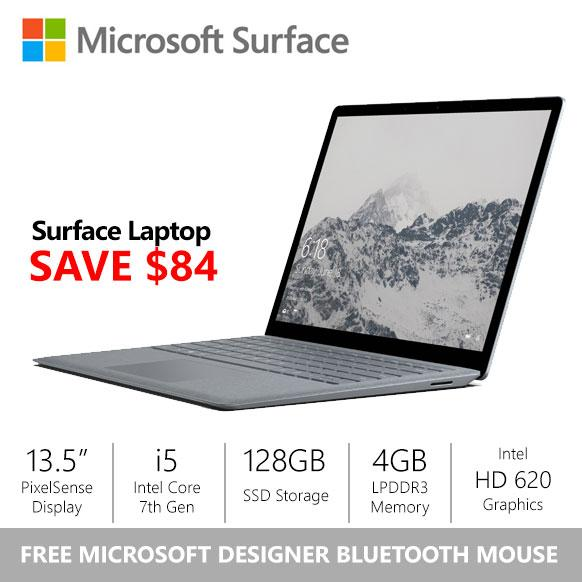 Price Comparison For Gss Microsoft Surface Laptop I5 4Gb 128Gb Platinum Free Designer Bluetooth Mouse