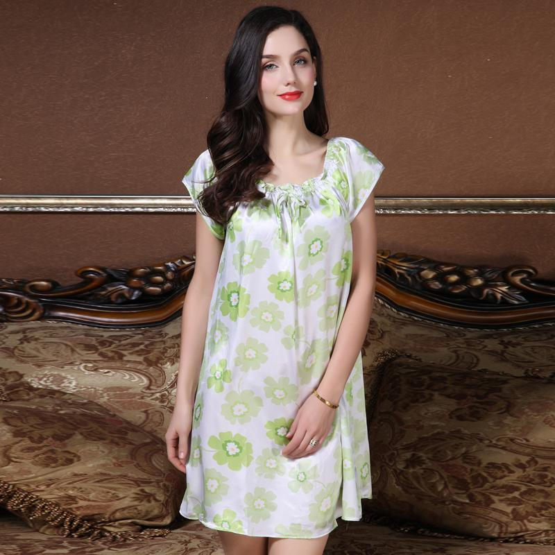 572af5adb0 Story Of Shanghai Imitation Real Silk Pajamas women Summer Large Size Loose  Short Sleeve Princess Summer